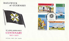 GUERNSEY 25 OCTOBER 1977 CENTURY St JOHNS AMBULANCE FIRST DAY COVER SHS