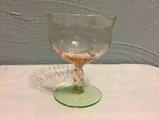 Depression Glass Vintage Pink Green Stemmed Glass Etch