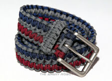Paracord Belt - Grey Navy Blue and Burgundy with Matte Nickle Buckle - S M L XL