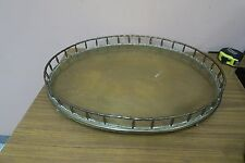 Vintage Oval Brass Walled Serving Bar Foot