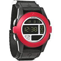 Nixon Watch Original Baja A489760 All Black Red Digital 50 MM Nylon Strap Sport