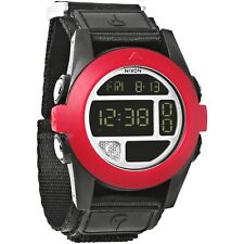 Nixon A489760 Baja All Black Red Digital 50 MM Nylon Strap New Surf Sport Watch