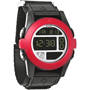 Nixon Baja New Original Watch A489760 Black Red Digital 50 MM Nylon Strap Sport