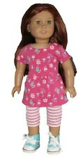 """Pink Floral Tunic Top and Stripe Leggings fit 18"""" American Girl Doll"""