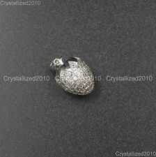 Clear  Zircon Gemstone Pave Strawberry Pendant Bracelet Connector Charm Silver