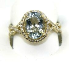 Oval Aquamarine & Diamond Halo Infinity Solitaire Ring 14k Yellow Gold 2.89Ct