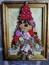 Jewelry Art Christmas Tree, Estate Find Frame, signed by Artist, full of flowers