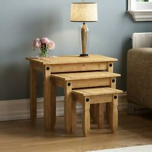 Corona Nest of 3 Tables Mexican Solid Waxed Pine Ornament Display Lamp Units
