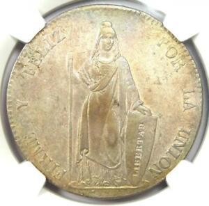 1842-Lima Peru Republic 8 Reales Coin 8R - Certified NGC AU58 - Rare!