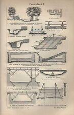 Lithografie 1908: Pionierdienst I/II. Deckwehrgräben Tretmine Bock für Flutbrück