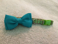 Multicolor Dots w/Blue Bow Green Adjustable Dog Collar - Size Small