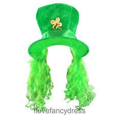 VERDE Irlandese cappello con trifoglio e capelli IRLANDA giorno di San  Patrizio c8900ca917a7