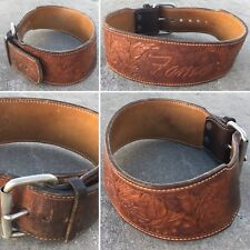 Vintage Tooled Leather Belt Fame (wide belt) Xs S Waist Belt