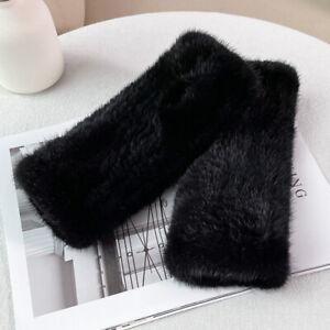 20cm Womens Real Mink Fur Gloves Fingerless String Knitted Wrist Mittens Sleeves