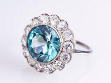 Art Deco – Platin Ring - Ozean blauer XXL Zirkon und phantastischen Brillanten