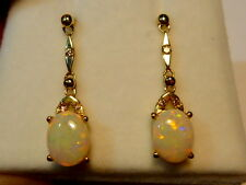 Opal Earrings 14ct Yellow Gold & Diamond. Natural Solid Opals 8x6mm Oval. 110344
