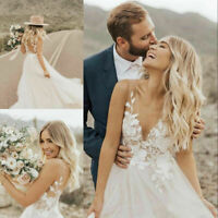 Bohemian Appliques A Line Wedding Dresses V Neck Sleeveless Beach Bridal Gowns