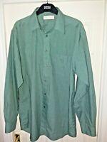 Mens Green Long Sleeved Shirt Marks & Spencer M & S 15.5' Collar