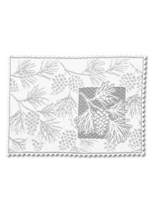 (2) White Heritage Lace Woodland Pinecone Country Tabletop Placemats