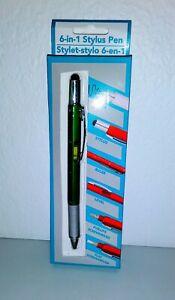 6 In 1 Stylus Pen Screwdriver Level Ruler Multitool Black Ink New in Box