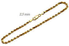 "Bracelet 2.5mm Men's Women Size 7"" 14k Solid Yellow Gold Rope Chain"
