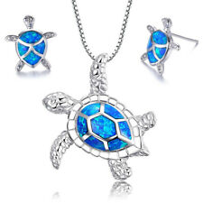 925 Sterling Silver Turtle Pendant Necklace For Girls Woman 18'' Opal + 2 Pins