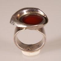 9408 Handgemachter Silberring Unikat Karneol designer massiver Silber 925