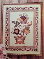 Fantasy Floral counted cross stitch magazine pattern, fabric & floss lot,