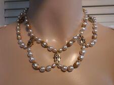 Vintage Miriam Haskell Baroque Pearl Festoon Choker Necklace