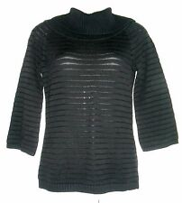 WHITE HOUSE BLACK MARKET BLACK STRIPED RIBBED KNIT COWL NECK SWEATER, SIZE S