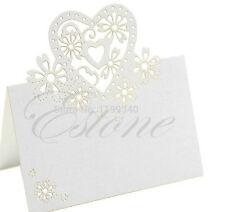 50 Cuore segnaposto BIANCO PERLATO bomboniera laser matrimonio biglietto 2015