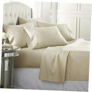 6 Piece Hotel Luxury Soft 1800 Series Premium Bed Sheets Set, Deep Queen Cream