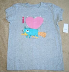 Disneys PHINEAS AND FERB *I Heart Perry* Gray S/S Tee T-Shirt Girls sz 10/12