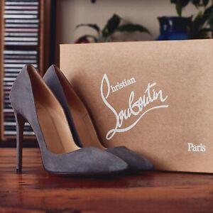 Christian Louboutin So Kate Pumps UK 4 EU 37 Grey Suede 120mm Brand New
