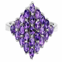 Ring Purple Amethyst Genuine Natural Gems Solid Sterling Silver Size R 1/2  US 9