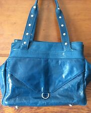Francesco Biasia Dark Teal Glazed Leather Satchel Shoulder Tote Italy