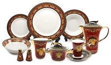 Royalty Porcelain Vintage 49-pc Dinnerware Set 'Red Medusa', Premium Bone China