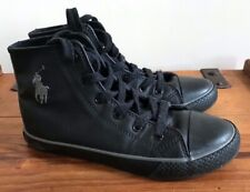 BOYS POLO RALPH LAUREN BLACK LEATHER HITOP BASKET BALL BOOTS TRAINERS UK 13