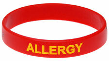 Allergy Alert Red Silicone Wristband Medical Alert ID Mediband Kids