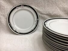 "1 NITTO China 'Kabuki' T 75 7"" Salad Plate w/ Silver Trim (12 total): Brand NEW!"