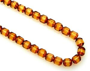 50 Topaz Gold Tortoise Stone Look Czech Glass 6mm Faceted Tube Cathedral Beads
