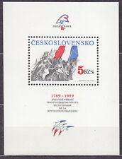 CZECHOSLOVAKIA 1989 **MNH SC#2746 s/s PHILEXFRANCE '89 French Revolution Bicent