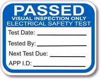 500 VISUAL PAT Test Labels Personalised (Portable Appliance Stickers) NOT PAPER