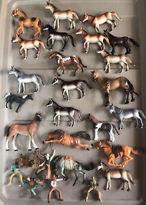 Large Lot of Farm Animal Horses Mules Pony & Cowboy Figures Loc#EB3
