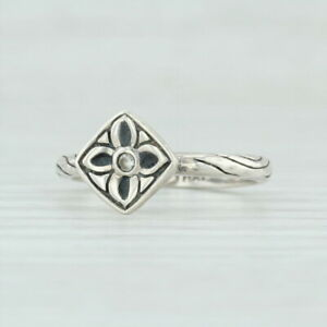 Silpada Belle Fleur Flower Ring Sterling Silver 6.75 R2465 Floral Cubic Zirconia