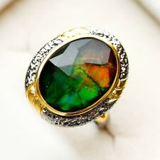Gorgeous Canada Natural Ammolite Silver S925 Retro Style Ring 31.2ct AS45