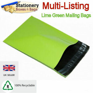 STRONG NEON GREEN MAILING BAGS Postage Mailers Plastic Post Polythene RECYCLABLE