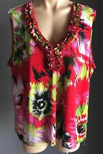 Feels Great On Bright Multi Colour LRD Stretch Sleeveless Top Plus Size 22 - 24
