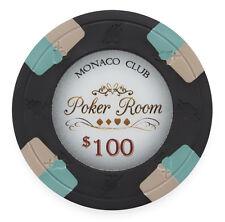 "25 ct Black $100 One Hundred Dollars ""Monaco Club"" Series 13.5 Grams Poker Chips"