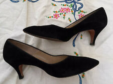 Vintage Red Cross Women's High Heel Shoes Black Suede Size 8.5